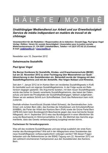 h ä lfte / moiti é - Berner Konferenz für Sozialhilfe und Vormundschaft