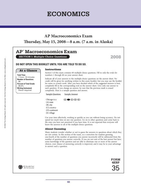 AP Macroeconomics Exam Thursday May 15 2008 College