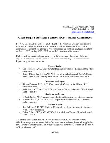 Chefs Begin Four-Year Term on ACF National Committees