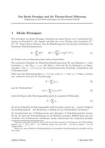 Ideales Fermigas und Thomas-Fermi-Näherung