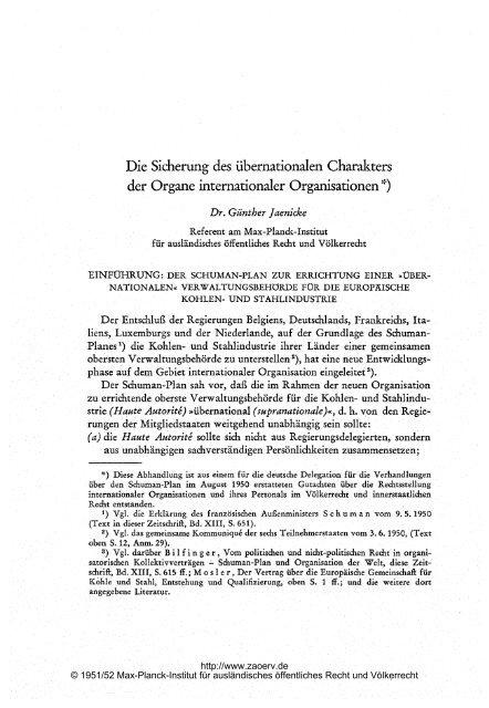 Die Sicherung des übernationalen Charakters der Organe ...