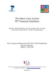Marie Curie Actions FP7 Financial Guidelines Part 3 - UK Research ...