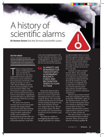 A history of scientific alarms