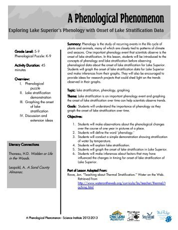 A Phenological Phenomenon Lesson Plan - Great Lakes Aquarium