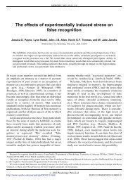 The effects of experimentally induced stress on false recognition