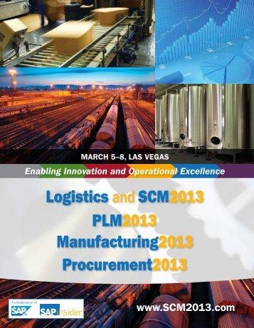 Logistics and SCM2013 Manufacturing2013 PLM2013 ...