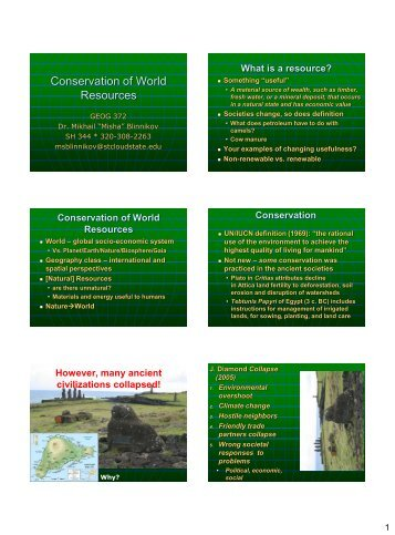 Conservation of world resources - St. Cloud State University