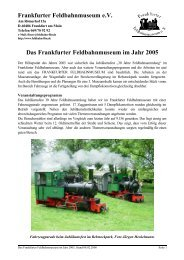 Das Frankfurter Feldbahnmuseum im Jahr 2005 - Frankfurter ...