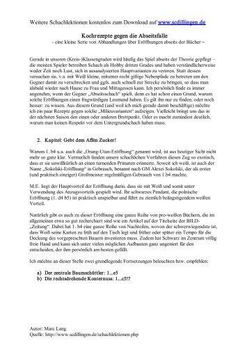 Schachlektionen: Eroeffnungen - Orang-Utan 1.b4