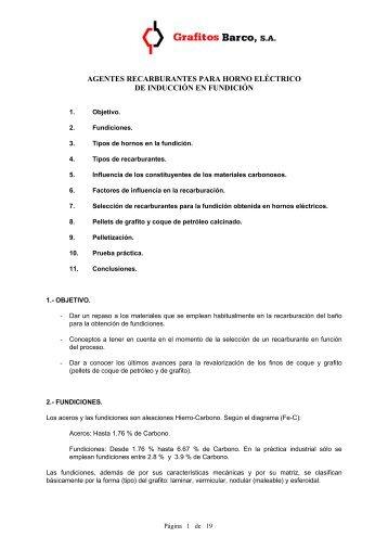 agentes recarburantes para horno eléctrico de - Grafitos Barco