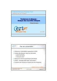 Tendances et attaques : Analyse des nouvelles attaques - Cert-IST