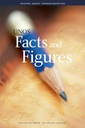 UNOS Facts & Figures - United Network for Organ Sharing