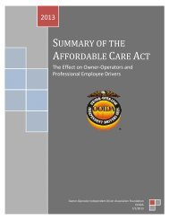 summary of the affordable care act - Owner-Operator Independent ...
