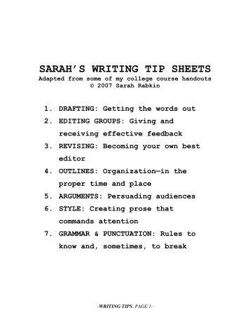 tips on improving your writing - Sarah Juniper Rabkin