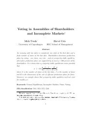 Voting in Assemblies of Shareholders and Incomplete Marketse