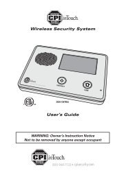 Wireless Security System User's Guide - CPI Security Systems