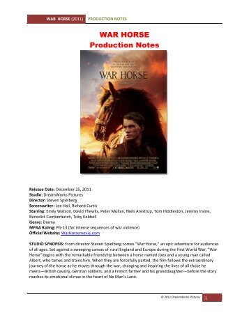 WAR HORSE Production Notes