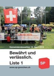 Gemeinderatswahlen 14. April 2013 SP Grenchen