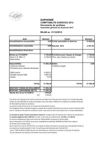 Bilan comptable 2012 - Euphonie