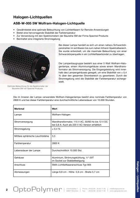 Halogen-Lichtquellen - OptoPolymer