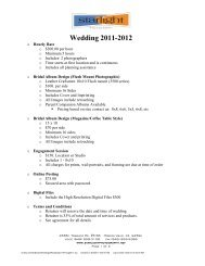 Wedding Service Pricing 2011-2012 - Starlight Photography
