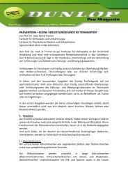 PRÄVENTION – KLEINE VERLETZUNGSKUNDE IM TENNISSPORT
