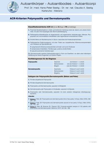 Polymyositis und Dermatomyositis, ACR-Kriterien - H.-P. Seelig