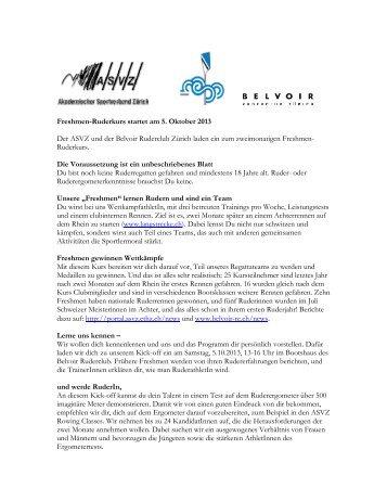Freshmen-Ruderkurs startet am 5. Oktober 2013 Der ASVZ und der ...
