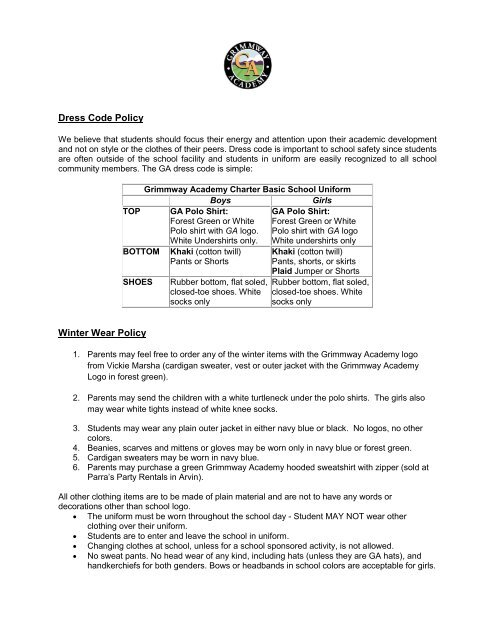 Uniform Policy - Grimmway Academy
