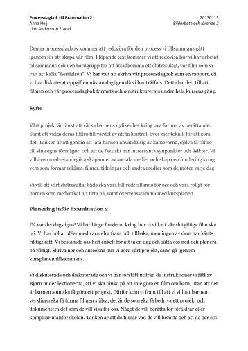 Processdagbok examination 2 - Artinwest