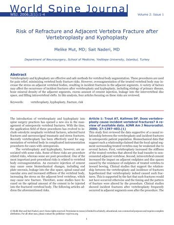 Risk of Refracture and Adjacent Vertebra Fracture after ...