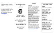 Call for Entries - Manitoba Society of Artists