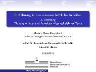 Einführung in das wissenschaftliche Arbeiten - Mathematik und ...