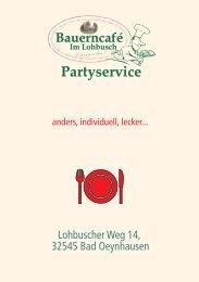 und Preisliste Partyservice - Bauerncafé im Lohbusch