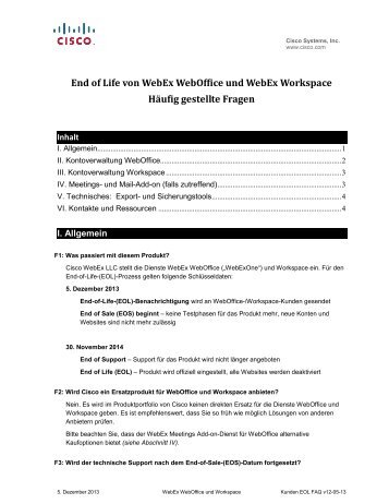 End of Life von WebEx WebOffice und WebEx Workspace Häufig ...
