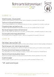 cette carte - SECRET Restaurant La Baule