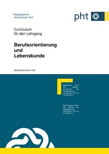 Curriculum - Pädagogische Hochschule Tirol