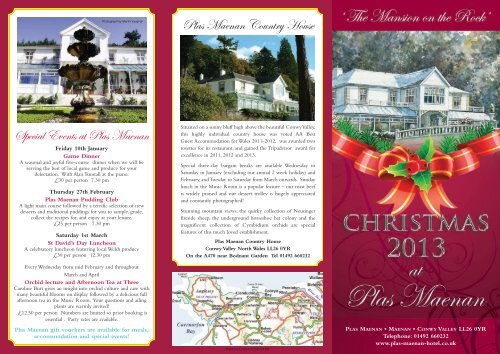 Christmas 2013 brochure - Plas Maenan Country House