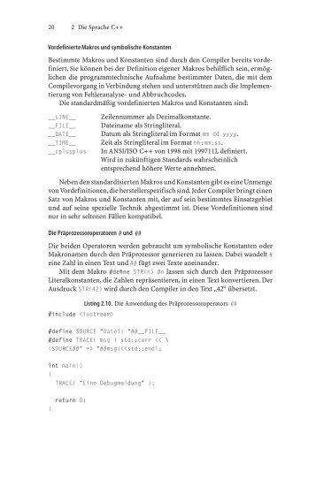 Vordefinierte Makros und symbolische Konstanten Bestimmte ...