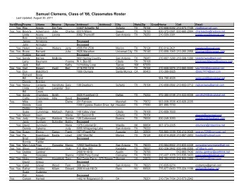 Roster of Classmates