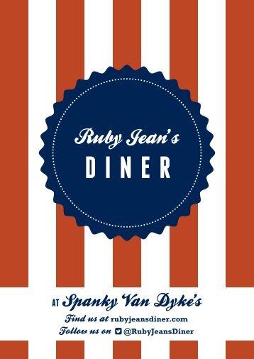 Ruby Jeans Diner Menu - Spanky Van Dykes