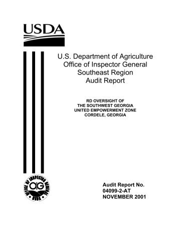 U.S. Department of Agriculture Office of Inspector General Southeast ...