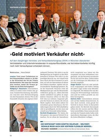 """Juni 2010 - """"Geld motiviert Verkäufer nicht"""" – Roundtable u.a. mit W ..."""