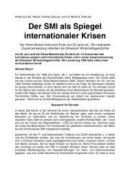 Der SMI als Spiegel internationaler Krisen - Consilium Hafner