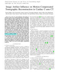 Image Artifact Influence on Motion Compensated Tomographic ...