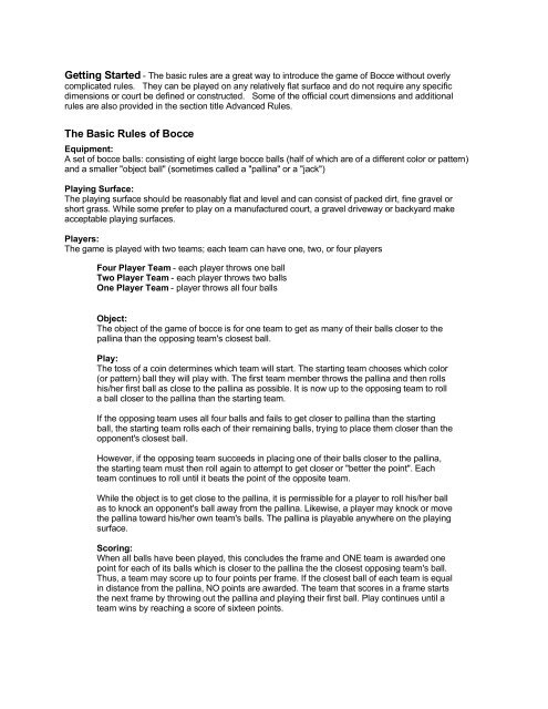 Rules Of Bocce S S Worldwide