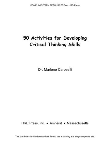50 Activities for Developing Critical Thinking Skills - SPERS