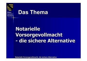 Notarielle Vorsorgevollmacht, die sichere Alternative - webnotar.de ...