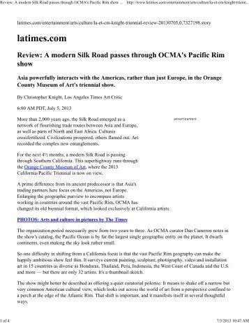Review: A modern Silk Road passes through OCMA's Pacific Rim ...
