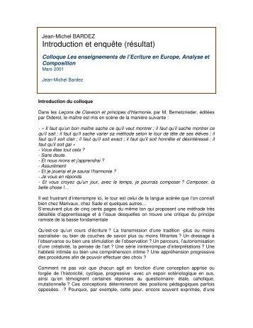 Introduction et enquête (résultat)